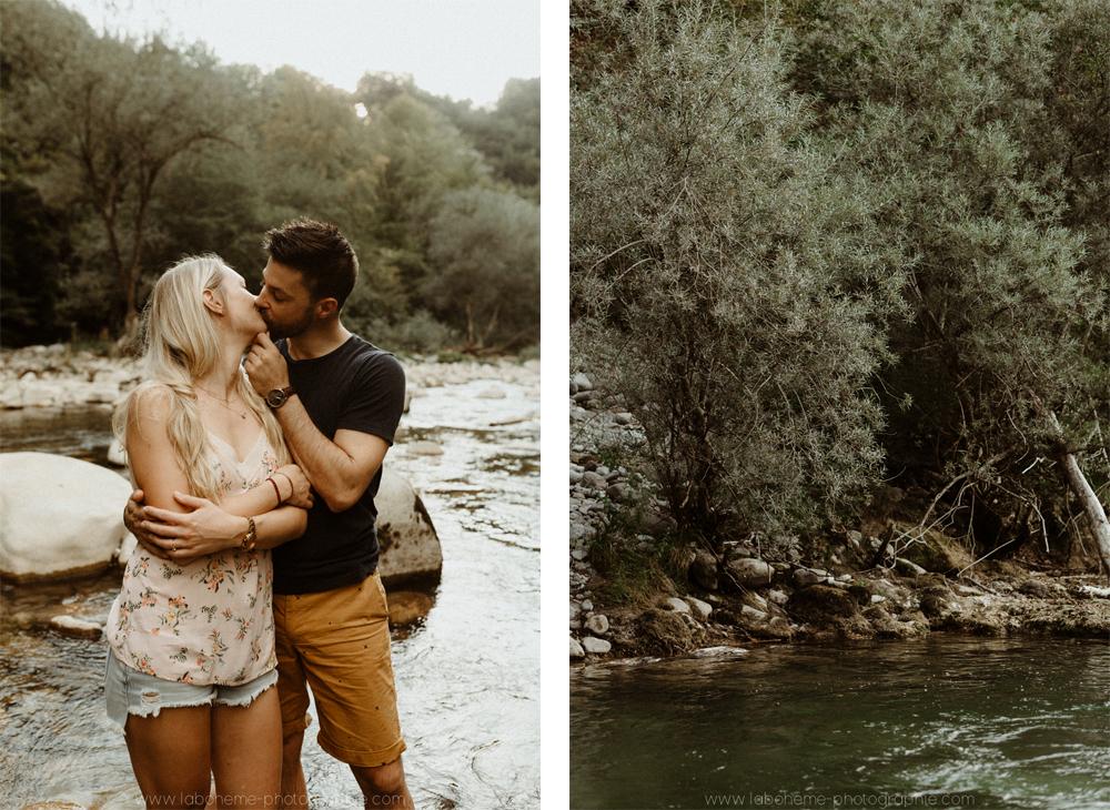 session de couple dans l'eau en haute savoie