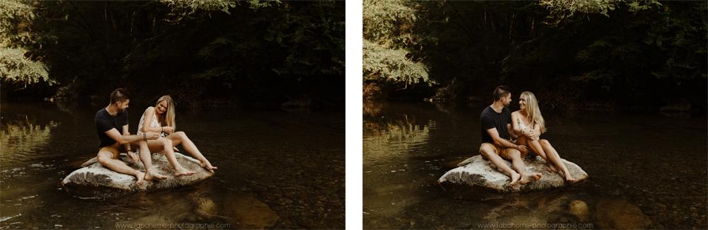 seance couple dans les alpes dans l'eau