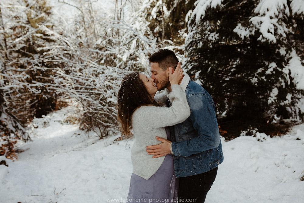 seance photo grossesse neige