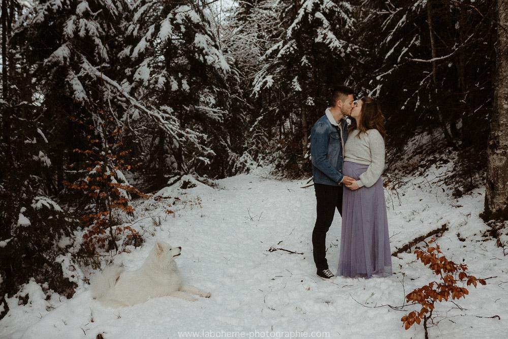 photographe grossesse a la neige