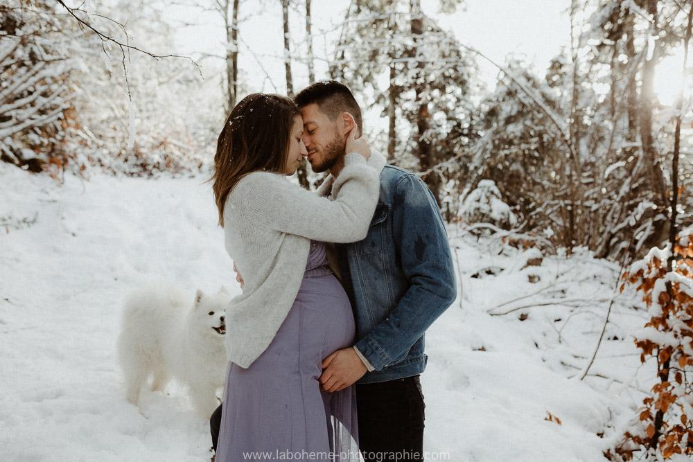 photo de grossesse a la neige haute savoie